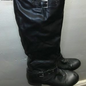 CALF BOOTS   Black with Blue Zipper
